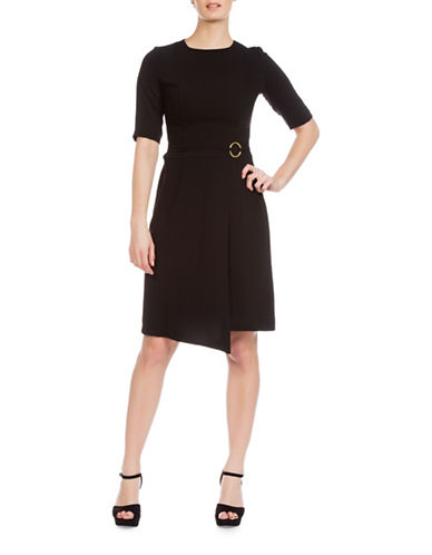 Sonia Arora Designs Jacquard Three-Quarter Sleeve Dress-BLACK-2