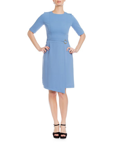 Sonia Arora Designs Jacquard Three-Quarter Sleeve Dress-BLUE-6