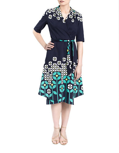 Sonia Arora Designs Floral Stem Faux-Wrap Dress-BLUE-0