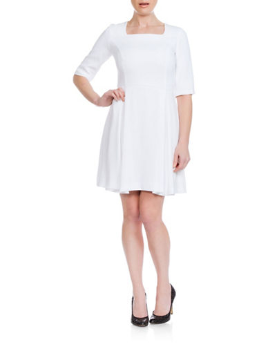 Sonia Arora Designs A-Line Faille Dress-WHITE-0