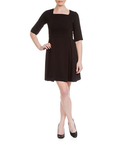 Sonia Arora Designs A-Line Faille Dress-BLACK-8