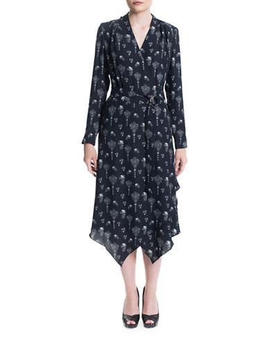 Sonia Arora Designs Brooch Wrap Dress-BLUE MULTI-6
