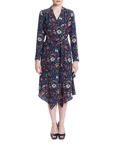 Sonia Arora Designs Liberty Print Silk Wrap Dress-PINK MULTI-4