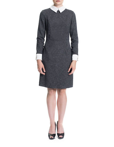 Sonia Arora Designs Collared Tweed Midi Dress-GREY-0