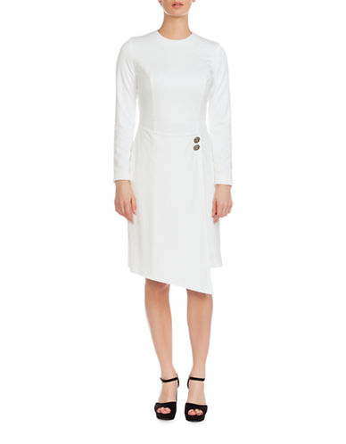 Sonia Arora Designs Wrap Skirt Knit Dress-WHITE-4