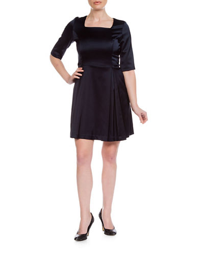 Sonia Arora Designs A-Line Faille Dress-NAVY BLUE-0