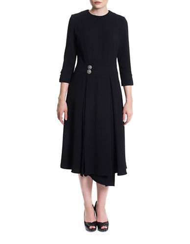 Sonia Arora Designs Asymmetrical Hem Wrap Dress-BLACK-6