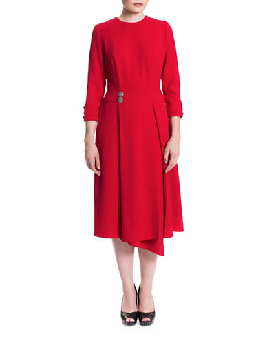Sonia Arora Designs Asymmetrical Hem Wrap Dress-RED-6