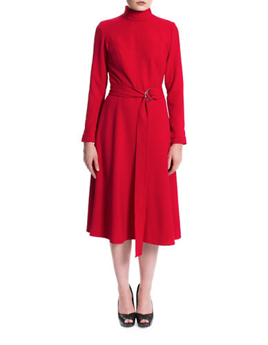 Sonia Arora Designs Crepe Turtleneck Dress-RED-2