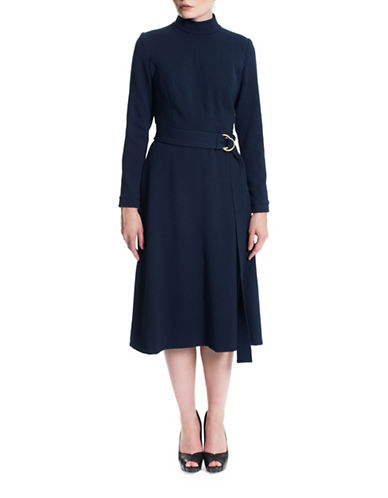Sonia Arora Designs Crepe Turtleneck Dress-BLUE-4