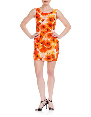 Sonia Arora Designs Floral Silk Tank Dress-ORANGE-4