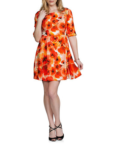 Sonia Arora Designs Floral Silk A-Line Dress-ORANGE-8
