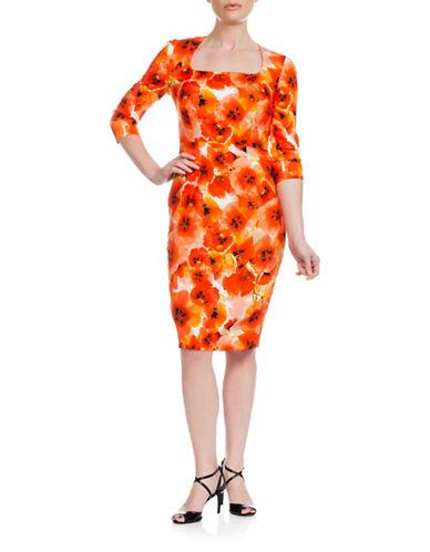 Sonia Arora Designs Floral Printed Silk Midi Dress-ORANGE-4