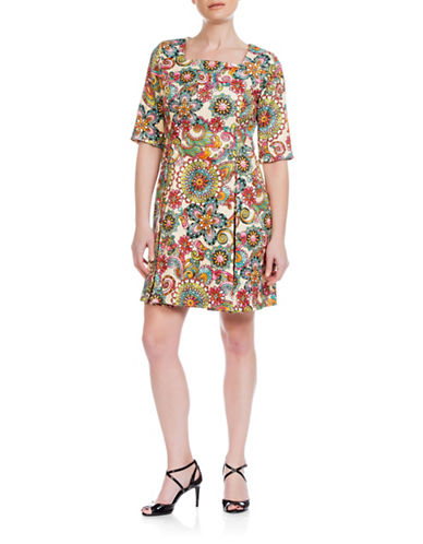 Sonia Arora Designs Retro Jacquard A-Line Dress-MULTI-10