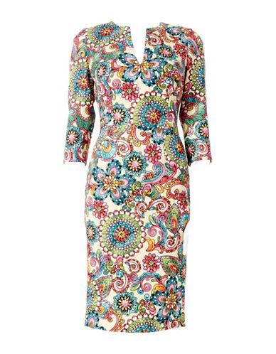 Sonia Arora Designs Retro Pinwheel Jacquard Midi Dress-MULTI-2