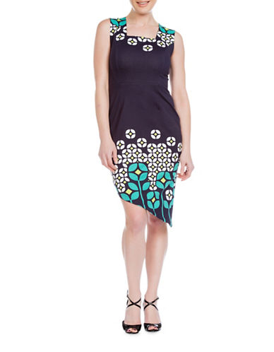 Sonia Arora Designs Asymmetrical Floral Stem Dress-BLUE-8