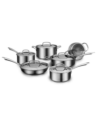 Cuisinart 11-Piece Three-Ply Stainless Steel Cookware Set - Induction Ready-SILVER-11L