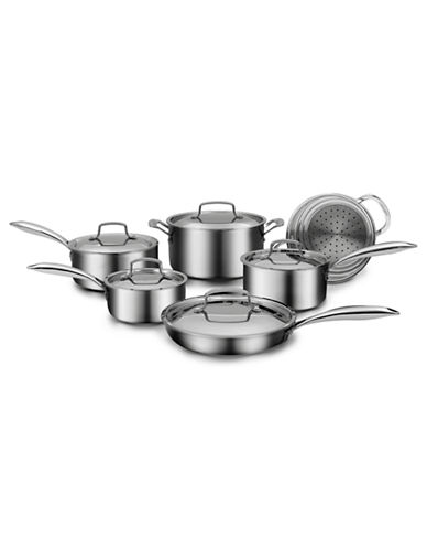 Cuisinart 11-Piece Five-Ply Stainless Steel Cookware Set-SILVER-11L