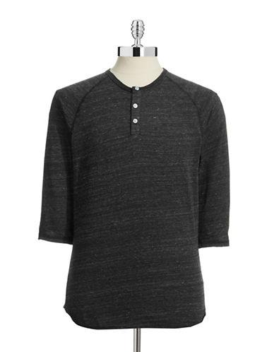 Alternative Raglan Henley T-Shirt-BLACK-Medium