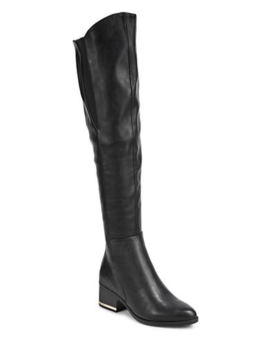 Call It Spring Elastic Gore Knee-High Boots-BLACK-7.5