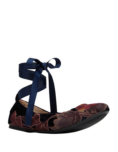 Call It Spring Ankle Wrap Velvet Ballet Flats-MULTI-7