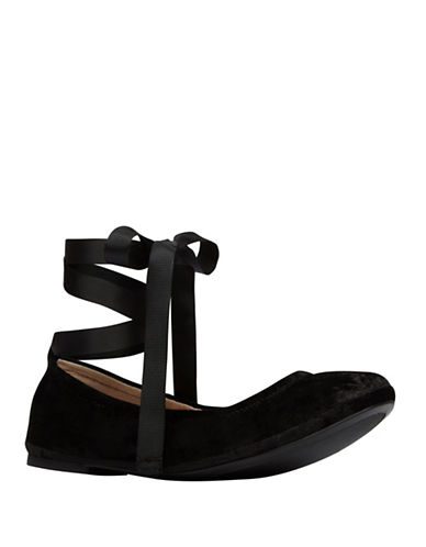 Call It Spring Ankle Wrap Velvet Ballet Flats-BLACK VELVET-6.5