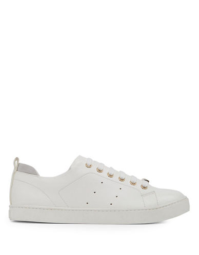 Aldo Womens Printed Lace-Up Sneakers-WHITE-9