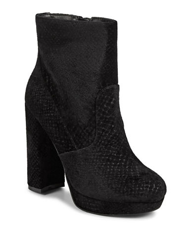 Call It Spring Snake-Print Suede Platform Booties-BLACK VELVET-8.5