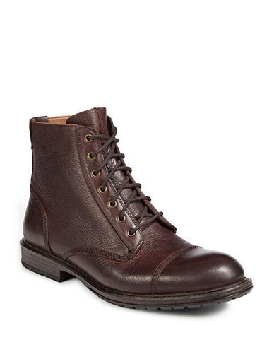 Pegabo Ibeviel Leather Lace-Up Boots-BROWN-EU 46/US 13