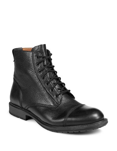 Pegabo Ibeviel Leather Lace-Up Boots-BLACK-EU 46/US 13