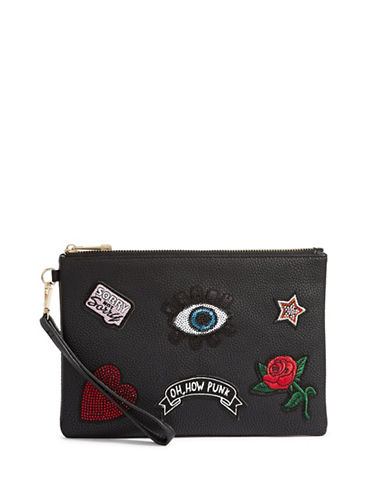 Aldo Punk Patch Wristlet-BLACK-One Size