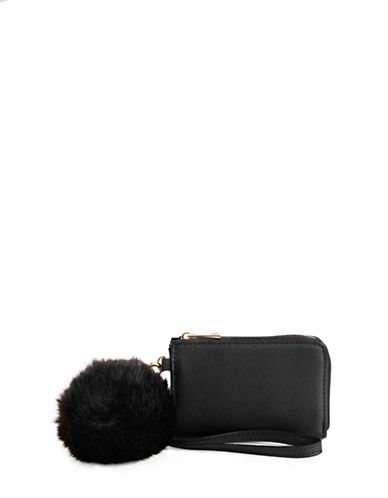Call It Spring Dorumia Wallet with Faux Fur Pom-BLACK-One Size