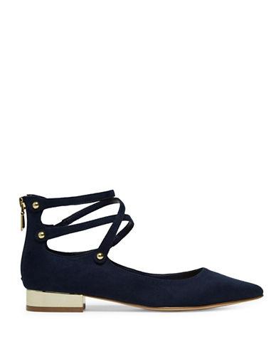 Aldo Marieta Crisscross Ankle Strap Flats-BLACK-8.5