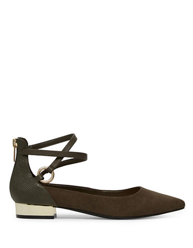 Aldo Marieta Crisscross Ankle Strap Flats-BORDEAUX-10
