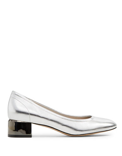 Aldo Leonora Leather Round Toe Pumps-SILVER-8.5
