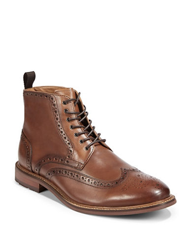 Pegabo Todien Leather Wingtip Boots-BROWN-EU 41/US 8