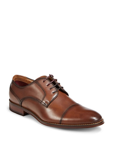 Pegabo Smooth Leather Derby Shoes-BROWN-EU 43/US 10