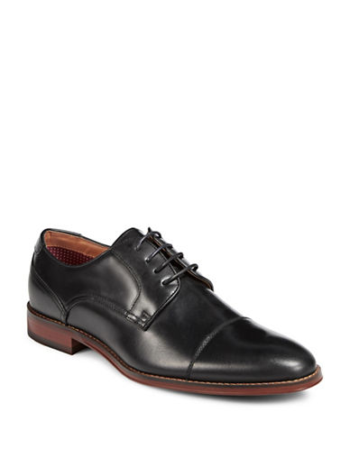Pegabo Smooth Leather Derby Shoes-BLACK-EU 45/US 12