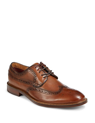 Pegabo Lace-Up Leather Derby Shoes-BROWN-EU 45/US 12