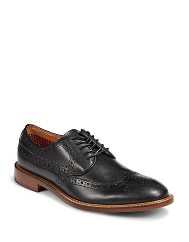 Pegabo Lace-Up Leather Derby Shoes-BLACK-EU 46/US 13
