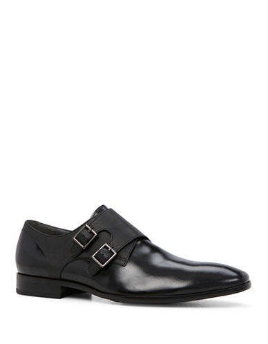 Aldo Nodia Leather Double Monk Shoes-BLACK-7