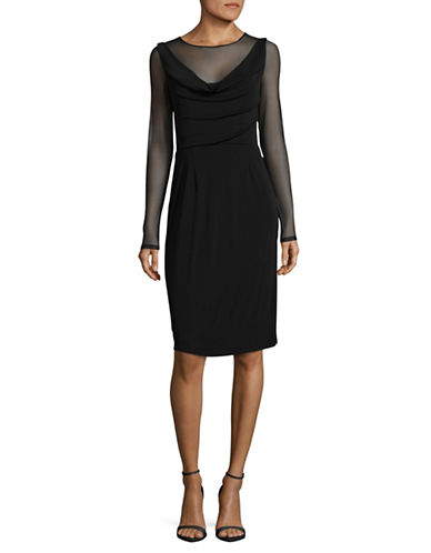 Vera Wang Illusion-Sleeve Cocktail Dress-BLACK-10