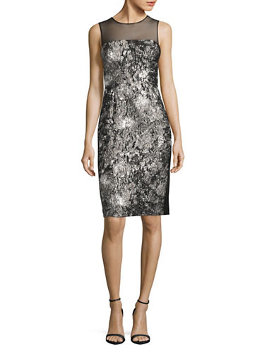 Vera Wang Sleeveless Illusion Upper Brocade Cocktail Dress-SILVER MULTI-10