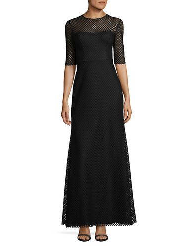 Vera Wang Mesh Overlay Gown-BLACK-10