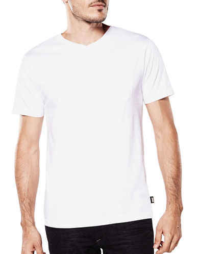 Bauhaus Solid V-Neck Tee-WHITE-XX-Large