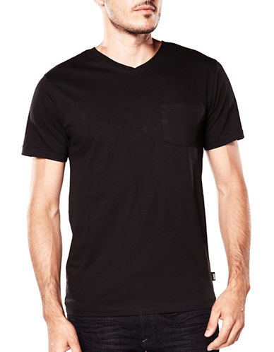 Bauhaus Solid V-Neck Tee-BLACK-Small