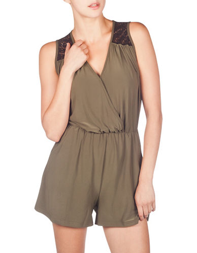 Foxy Jeans Sleeveless Lace-Accented Romper-GREEN-X-Large