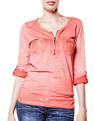 Foxy Jeans Long Sleeve Cotton Top-RED-Large 89132840_RED_Large