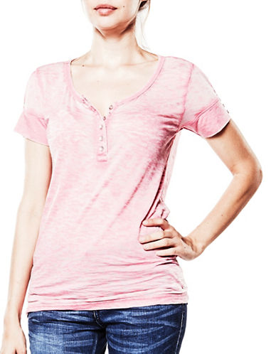 Foxy Jeans Short Sleeve Henley-PINK-X-Large