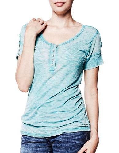 Foxy Jeans Short Sleeve Henley-TURQUOISE-Medium